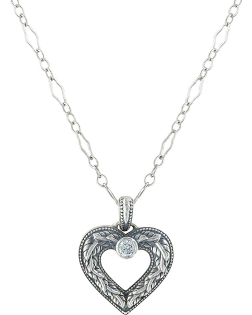 Sterling Lane Women's Wilderness Heart Necklace , Silver, hi-res