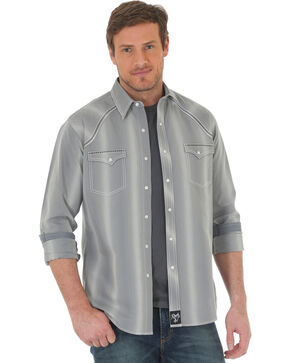 Wrangler Rock 47 Men's Vertical Stripe Long Sleeve Snap Shirt, Grey, hi-res