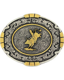 Montana Silversmiths Men's Silver Bull Rider Belt Buckle , , hi-res