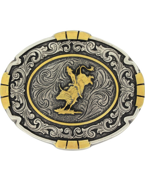 Montana Silversmiths Men's Silver Bull Rider Belt Buckle , Silver, hi-res
