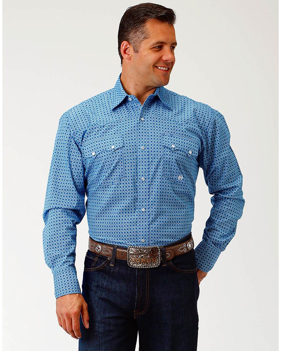 Roper Men's Blue Spur Foulard Print Shirt , Blue, hi-res