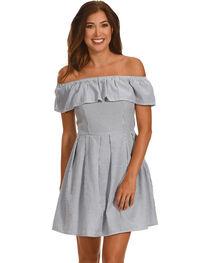 Ces Femme Women's Off The Shoulder Stripe Dress, , hi-res