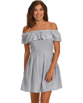 Ces Femme Women's Off The Shoulder Stripe Dress, Blue, hi-res