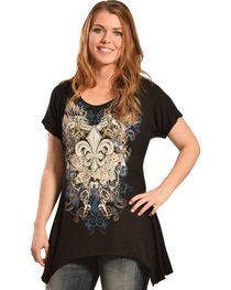 Liberty Wear Women's Black Fleur-de-Lis Mini Shirt, , hi-res