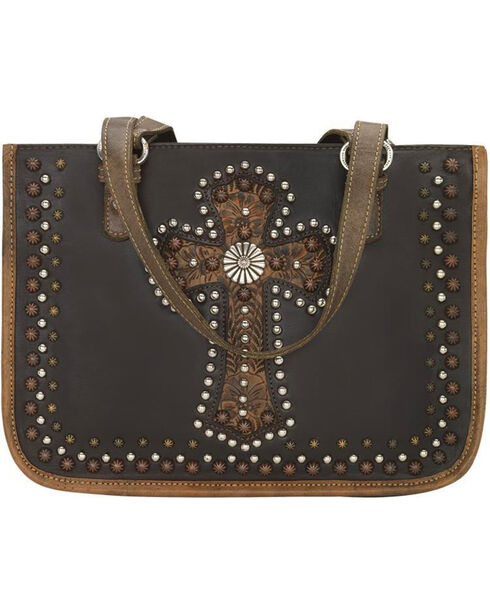 American West Women's Chocolate Leather Zip Top Tote , Chocolate, hi-res