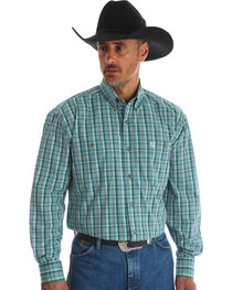 Wrangler Men's Green George Strait Double Pocket Plaid Shirt - Big and Tall , , hi-res