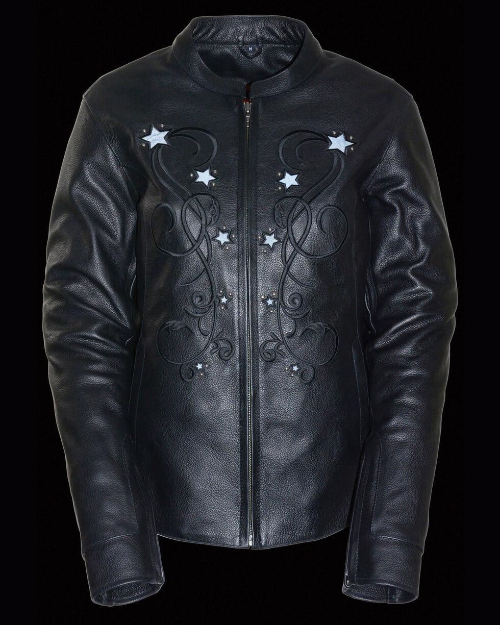 Milwaukee Leather Women's Reflective Star Jacket, Black, hi-res