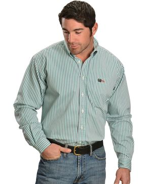 Cinch WRX Men's Flame Resistant Long Sleeve Striped Twill Work Shirt, White, hi-res