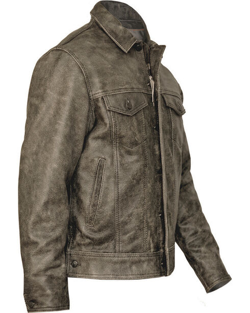 STS Ranchwear Men's Maverick Rustic Black Leather Jacket - 2XL & 3XL, , hi-res