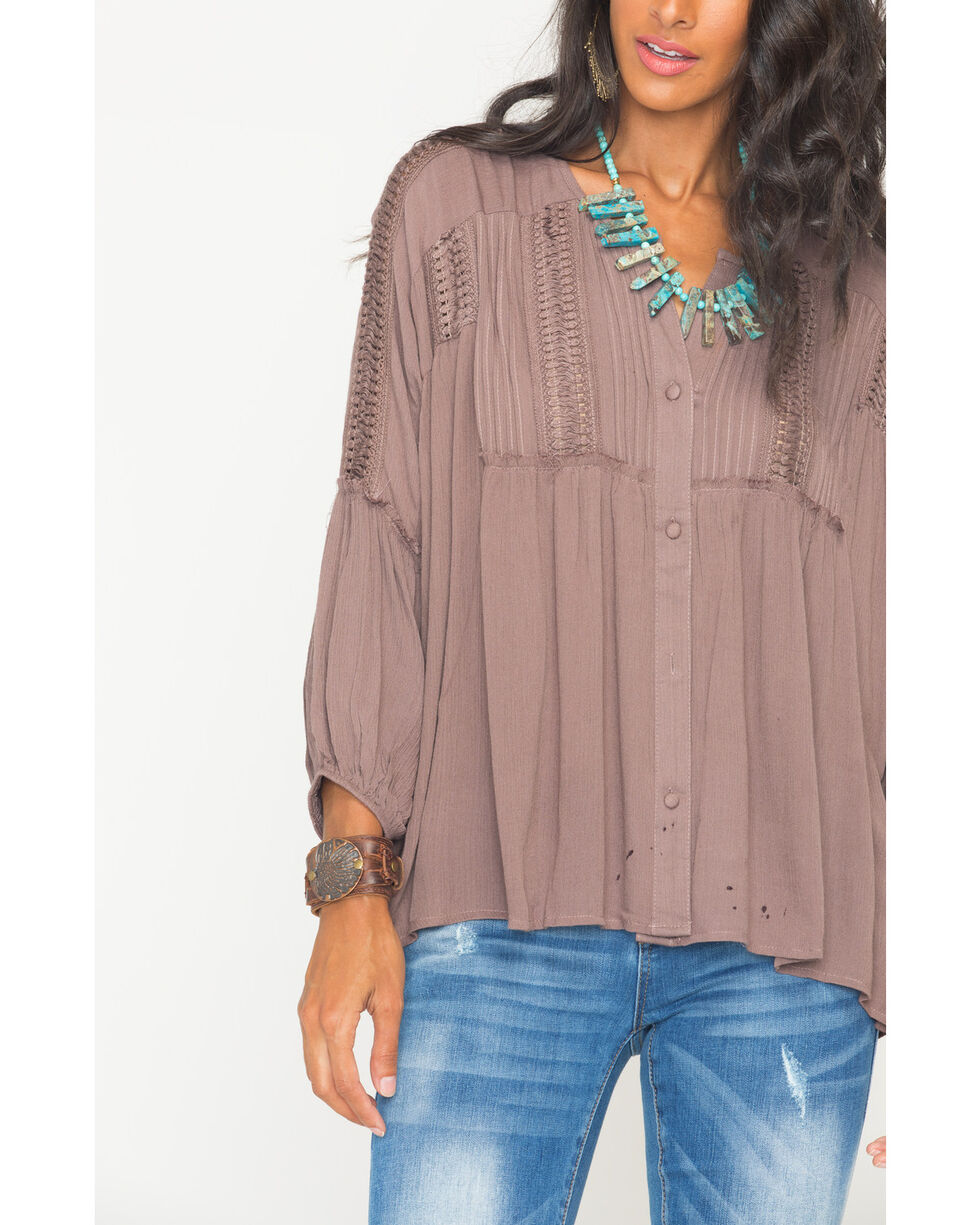 Sage the Label Women's Brown Lhani Blouse , Taupe, hi-res
