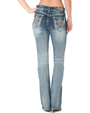 Grace in LA Women's Faded Stitched Pocket Jeans - Boot Cut, Indigo, hi-res