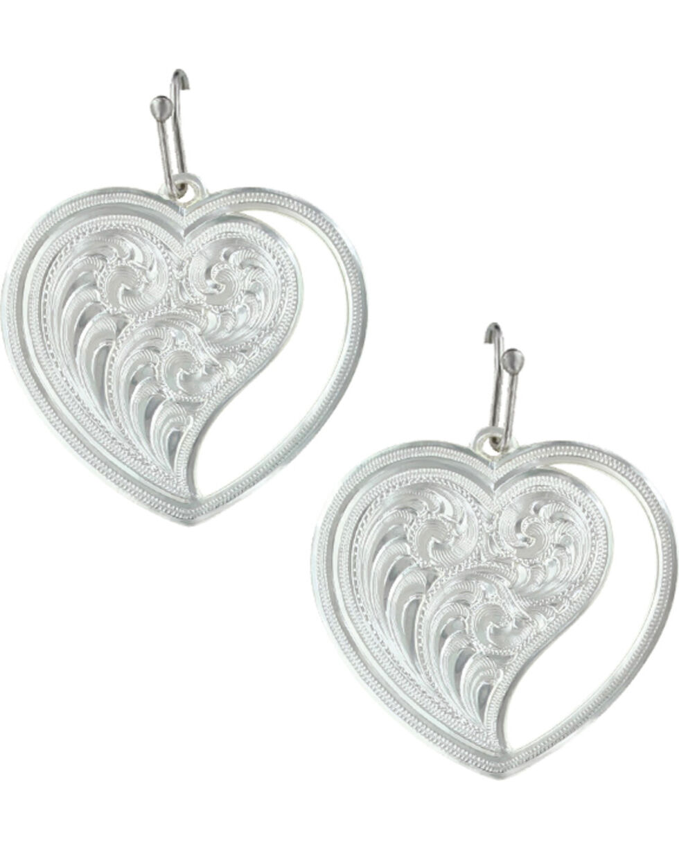 Montana Silversmiths Women's Heart Swept Away Earrings , Silver, hi-res