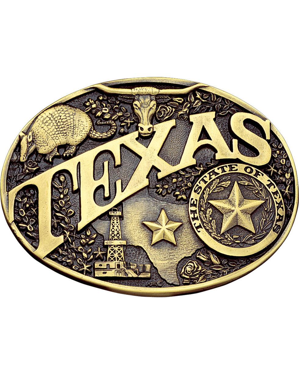 Montana Silversmiths Texas State Heritage Attitude Belt Buckle, Gold, hi-res