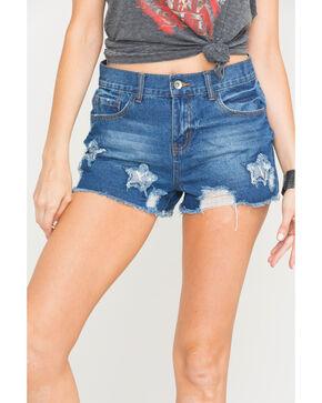 Others Follow Women's Blue Star Patch Fray Hem Shorts , Blue, hi-res