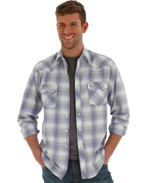 Wrangler Retro Men's Grey Plaid Long Sleeve Shirt , Purple, hi-res