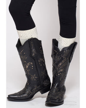 Darby's Women's Roxy Rhinestone Cuff Boot Tights, Cream, hi-res
