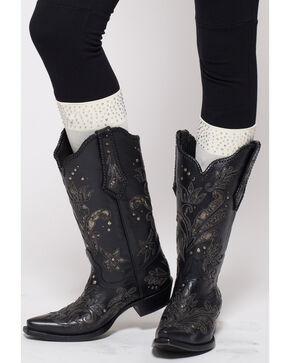 Darby's Women's Roxy Rhinestone Cuff Boot Tights, Cream, hi-res