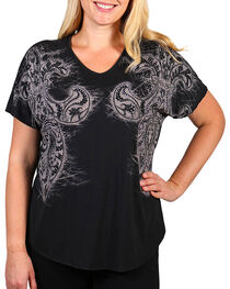 Vocal Women's Black Rhinestone Fleur-de-lis Short Sleeve Top - Plus, , hi-res