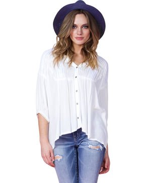 Miss Me Women's Ivory Lace Detail Peasant Blouse, Ivory, hi-res
