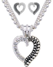 Montana Silversmiths Twisted Rope and Crystal Heart Jewelry Set, , hi-res