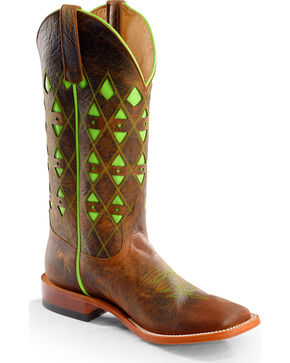 Horse Power Men's Neon Underlay Western Boots, Toast, hi-res