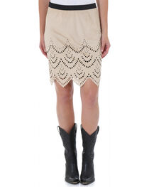 Wrangler Women's Laser Cut Scalloped Skirt, , hi-res