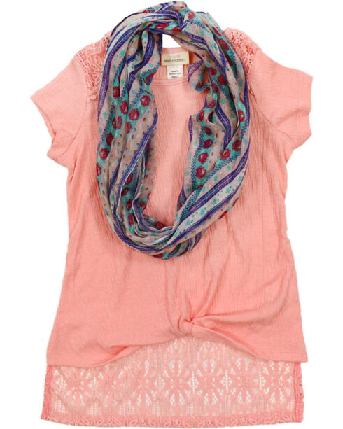 Self Esteem Girls' Lace Trim Top and Scarf Set , Pink, hi-res