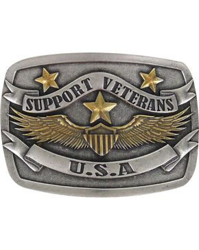 Cody James® Men's Support The Veterans Belt Buckle, Silver, hi-res