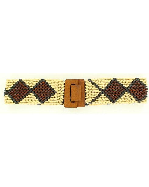 Nocona Wooden Beaded Stretch Belt, Natural, hi-res