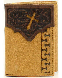 Ariat Men's Tri-Fold Stitch Cross Tabs Wallet, , hi-res