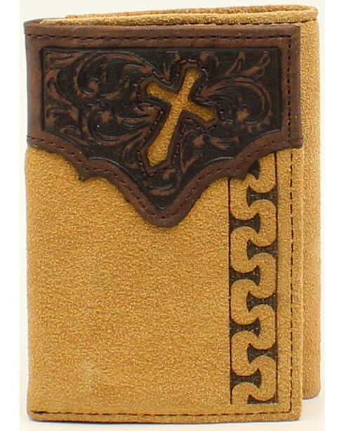 Ariat Men's Tri-Fold Stitch Cross Tabs Wallet, Natural, hi-res