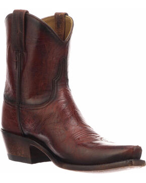 Lucchese Women's Gaby Red Goat Western Short Boots - Snip Toe, Red, hi-res