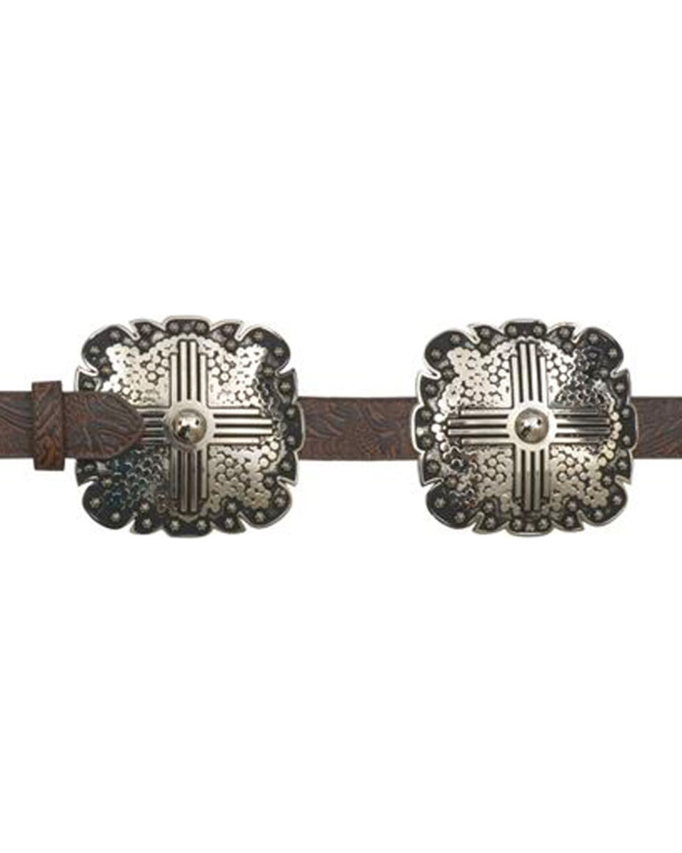 """Angel Ranch Women's 1"""" Rustic Square Leather Belt, , hi-res"""