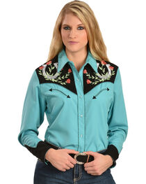 Scully Women's Embroidered Horseshoe Western Shirt, , hi-res