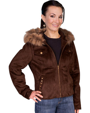Scully Faux Fur Hooded Suede Jacket, Espresso, hi-res