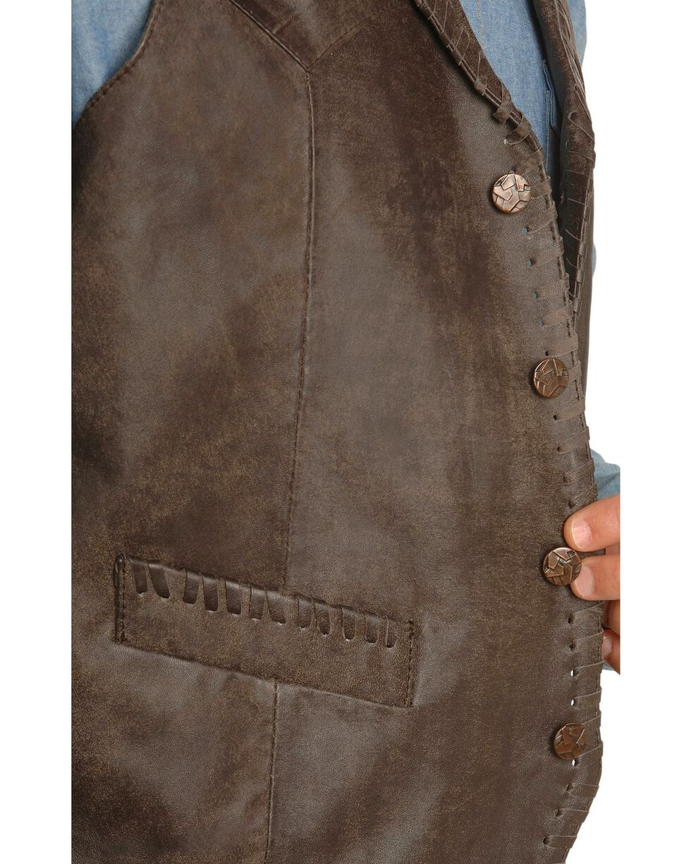 Scully Men's Whipstitch Leather Lapel Vest, Brown, hi-res