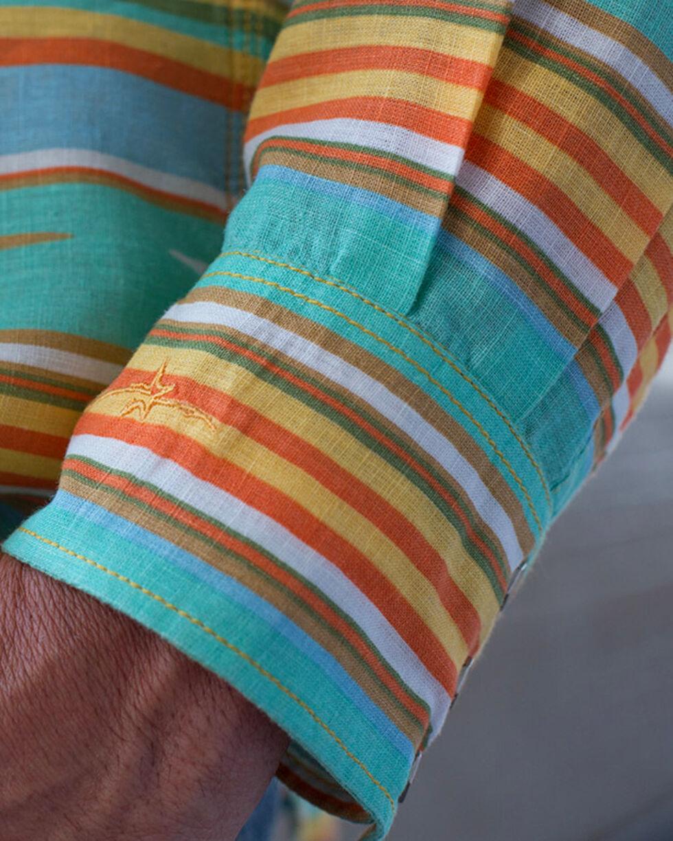 Ryan Michael Men's Seafoam Serape Stripe Shirt , Light Green, hi-res