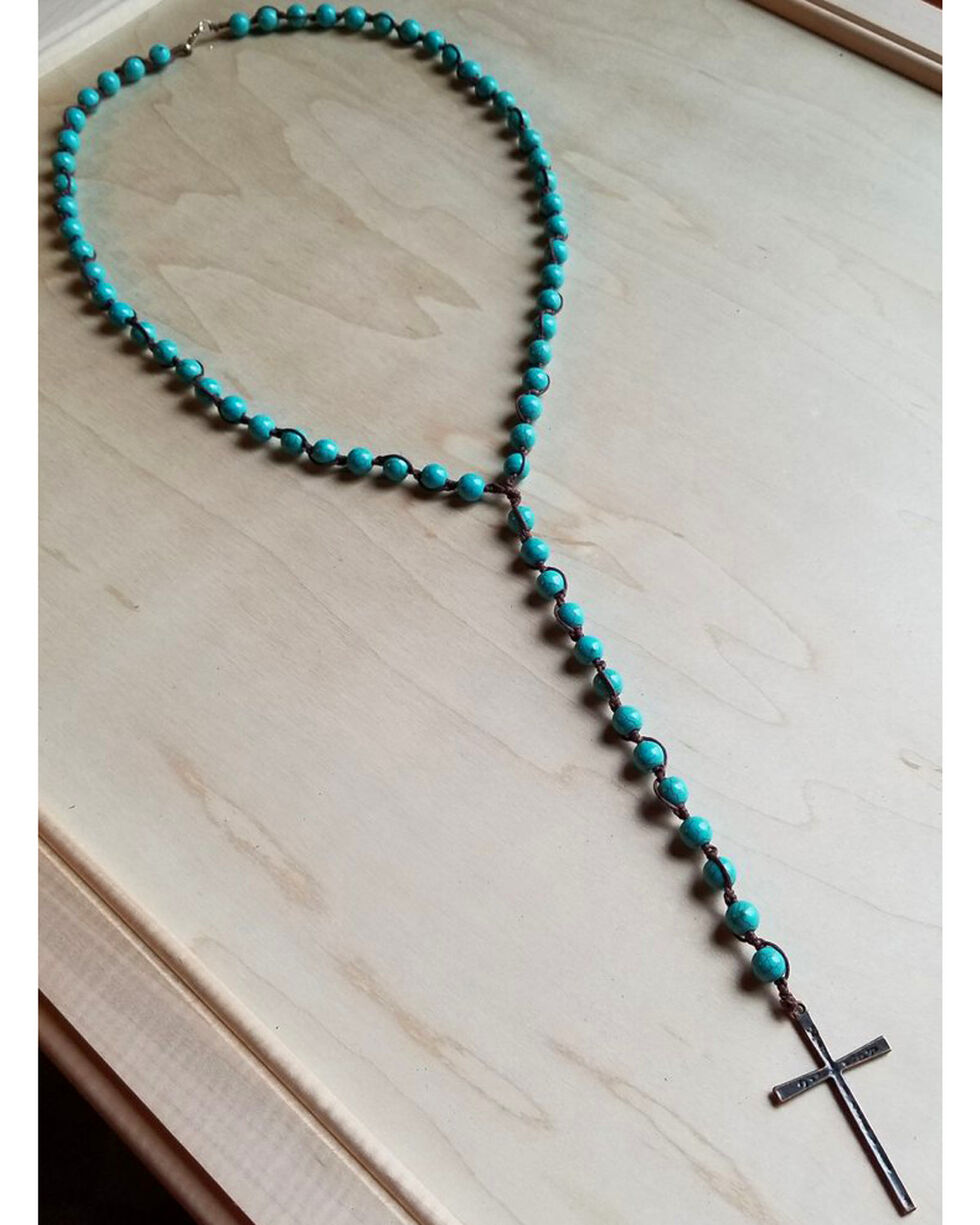 Jewelry Junkie Women's Turquoise Bead Rosary Necklace, Blue, hi-res