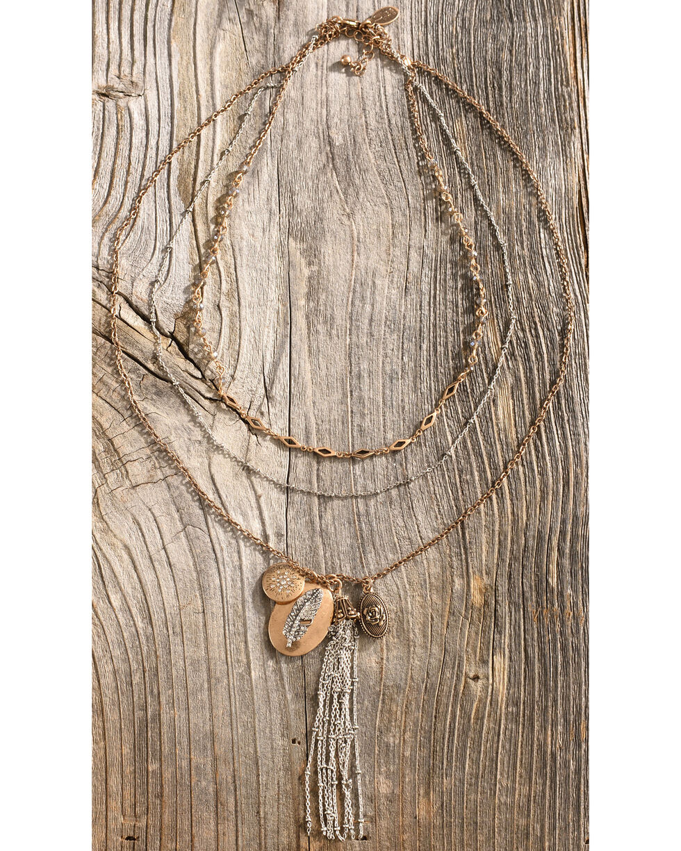 Silver Jeans Women's Feather Cluster Necklace, Gold, hi-res