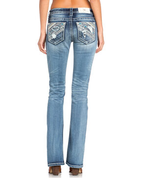 Miss Me Women's Aztec Embellished Boot Cut Jeans  , Indigo, hi-res
