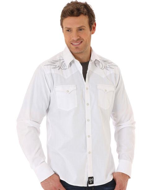 Wrangler Rock 47 Men's White Embroidered Western Shirt , White, hi-res