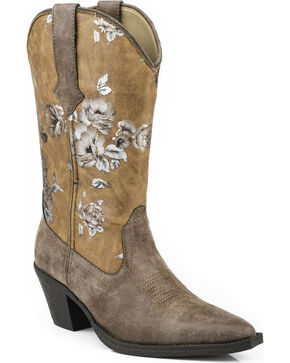Roper Women's Painted Floral Western Boots, Brown, hi-res