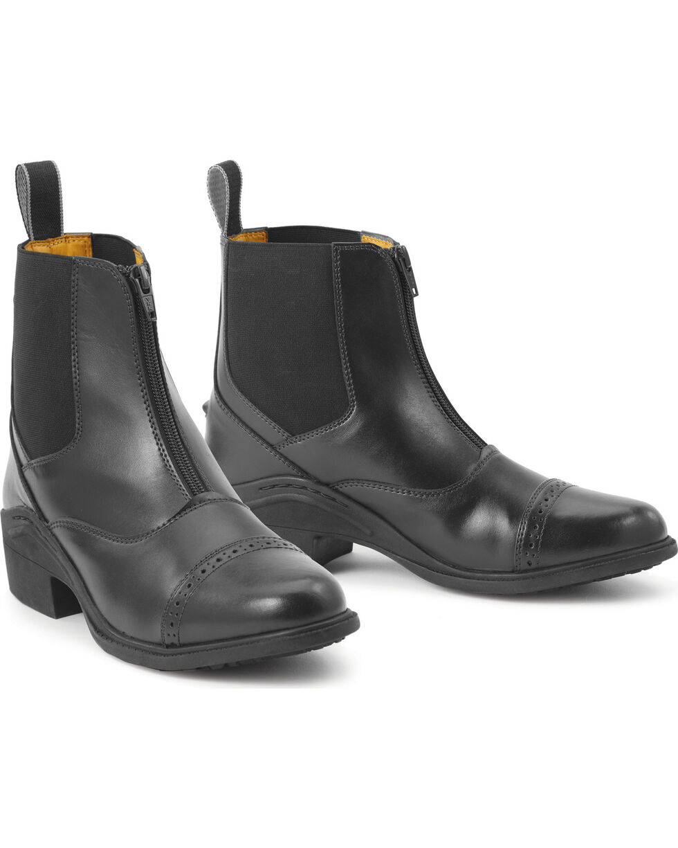 Ovation Kids' Synergy Zip-Front Paddock Boots, Black, hi-res