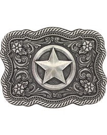 Montana Silversmiths Men's Silver Texas Star Belt Buckle , , hi-res