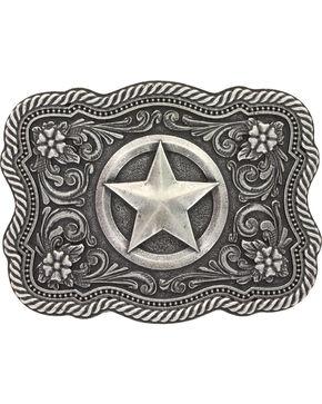 Montana Silversmiths Men's Silver Texas Star Belt Buckle , Silver, hi-res