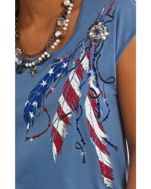 Panhandle Slim Women's Blue Americana Cap Sleeve T-Shirt , Blue, hi-res