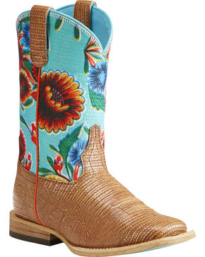 Ariat Girls' Gringa Lizard Print Oil Cloth Western Boots - Square Toe , Natural, hi-res
