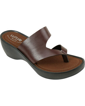 Eastland Women's Dark Brown Laurel Wedge Thong Sandals, Brown, hi-res
