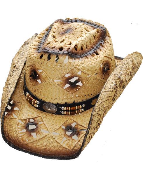 Western Express Women's Tan Vented Straw Hat , Tan, hi-res