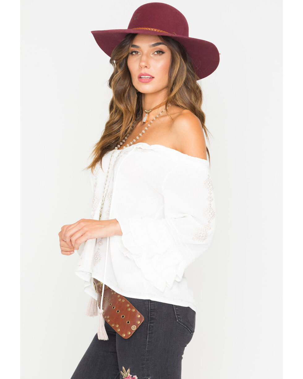 Miss Me Women's Shed-A-Tier Off The Shoulder Top, White, hi-res
